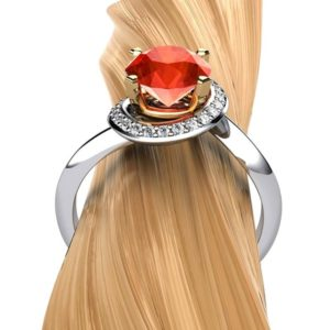 "Shop Garnet Rings! Orange Garnet Halo Ring, 14k Gold or Platinum with Diamonds | Dainty Gemstone Twist Ring | ""Kaylee"" 