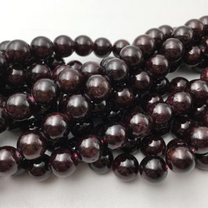 "Natural Garnet Smooth Round Size 2mm 4mm 6mm 8mm 10mm 12mm 15.5"" Strand 