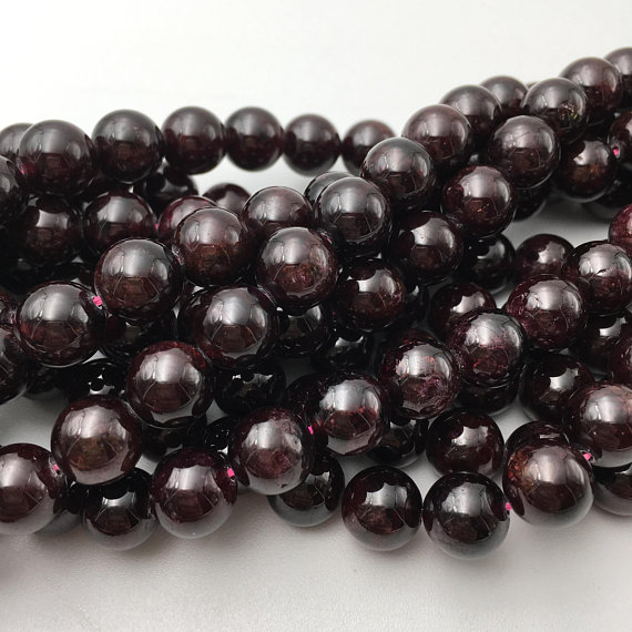 "Natural Red Garnet Smooth Round Beads 2mm 4mm 6mm 8mm 10mm 12mm 15.5"" Strand"