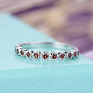 Shop Garnet Rings! Garnet Wedding Band white Gold Art Deco Antique Unique Half Eternity Bridal Set Women Matching Stacking band Anniversary | Natural genuine Garnet rings, simple unique alternative gemstone engagement rings. #rings #jewelry #bridal #wedding #jewelryaccessories #engagementrings #weddingideas #affiliate #ad