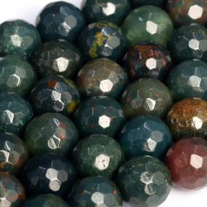 Shop Bloodstone Beads! Genuine Natural Dark Green Blood Stone Loose Beads Micro Faceted Round Shape 6mm 8mm 10mm | Natural genuine faceted Bloodstone beads for beading and jewelry making.  #jewelry #beads #beadedjewelry #diyjewelry #jewelrymaking #beadstore #beading #affiliate #ad
