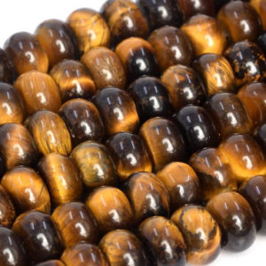 Shop Tiger Eye Rondelle Beads! Genuine Natural Yellow Tiger Eye Loose Beads Grade A Rondelle Shape 8x5mm | Natural genuine rondelle Tiger Eye beads for beading and jewelry making.  #jewelry #beads #beadedjewelry #diyjewelry #jewelrymaking #beadstore #beading #affiliate #ad