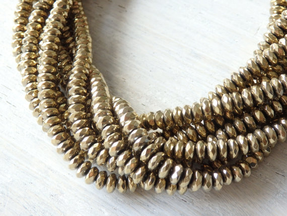 """6x3mm Gold Tone Hematite Beads, Sparkling Faceted Gold Hematite Rondelle Beads, Electroplated, Spacer Beads, 15.5"""" Strand"""