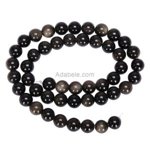 "Shop Golden Obsidian Beads! You Pick Aaa Natural Gold Sheen Obsidian Gemstone 4mm 6mm 8mm 10mm Round Loose Beads 15.5"" (1 Strand) Gy1 
