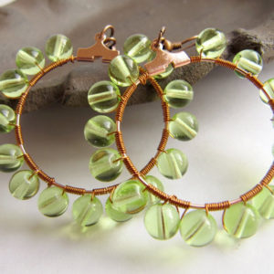 Green Copper Wire-Wrapped Earrings Project
