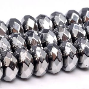 "Shop Hematite Faceted Beads! 6x3MM Silver Hematite Beads Grade AAA Natural Gemstone Faceted Rondelle Loose Beads 15.5"" / 7.5"" Bulk Lot Options (101676) 