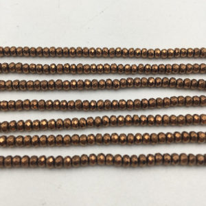 "Shop Hematite Faceted Beads! Copper Plated Hematite Faceted Rondelle Beads 2x3mm 3x4mm 15.5"" Strand 