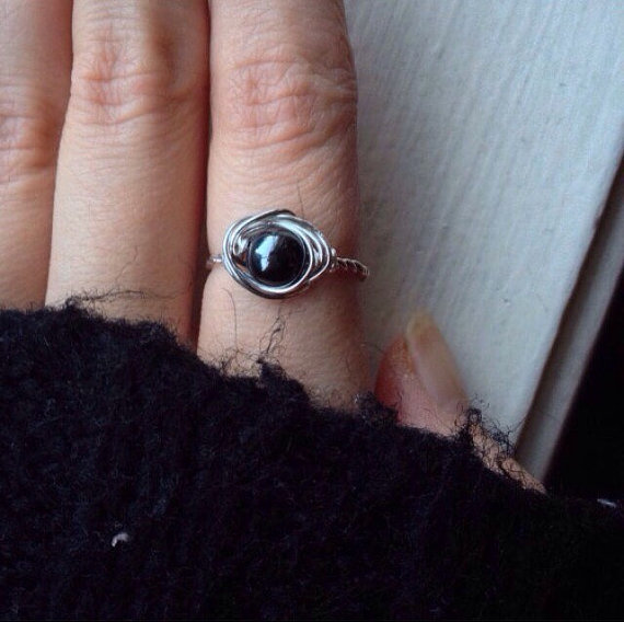 Hematite Ring - Wire Wrapped Stacking Ring - Ecofriendly Silver Stacking Ring - Crystal Ring Protection - Silver Healing Crystal Ring