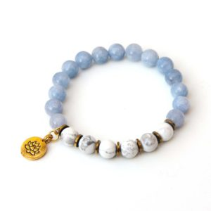 Shop Howlite Bracelets! Angelite bracelet with Lotus charm | Natural genuine Howlite bracelets. Buy crystal jewelry, handmade handcrafted artisan jewelry for women.  Unique handmade gift ideas. #jewelry #beadedbracelets #beadedjewelry #gift #shopping #handmadejewelry #fashion #style #product #bracelets #affiliate #ad