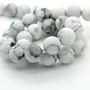 Shop Howlite Beads! Howlite Matte Round Sphere Ball Natural Loose Gemstone Beads – Full Strand (4mm, 6mm, 8mm, 10mm) | Natural genuine beads Howlite beads for beading and jewelry making.  #jewelry #beads #beadedjewelry #diyjewelry #jewelrymaking #beadstore #beading #affiliate #ad