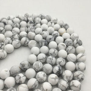 Shop Howlite Round Beads! Matte White Howlite Genuine Gemstone Round Loose Beads 4 / 6 / 8 / 10 / 12mm 15.5'' Long. R-m-how-0125 | Natural genuine round Howlite beads for beading and jewelry making.  #jewelry #beads #beadedjewelry #diyjewelry #jewelrymaking #beadstore #beading #affiliate #ad