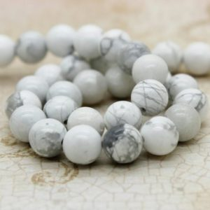 Shop Howlite Beads! Howlite Smooth Round Natural Gemstone Loos Sphere Ball Beads – Full Strand (4mm 5mm 6mm 8mm 10mm) | Natural genuine beads Howlite beads for beading and jewelry making.  #jewelry #beads #beadedjewelry #diyjewelry #jewelrymaking #beadstore #beading #affiliate #ad