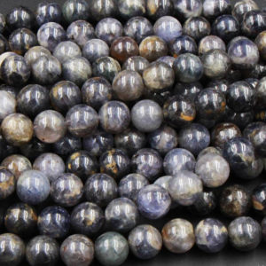 "Natural Iolite 7mm 8mm 10mm Round Beads Real Purple Blue Gemstone 15.5"" Strand 