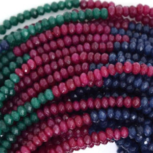 "Shop Jade Faceted Beads! 3mm faceted red blue green jade rondelle beads 14.5"" strand multicolor 35477 