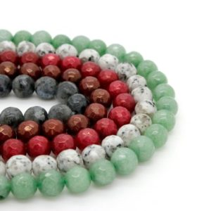 Shop Jade Faceted Beads! Dyed Jade Faceted Round Ball Sphere Loose 8mm Gemstone Beads (dark Red, Burgundy, Gray, White, Green) – Full Strand | Natural genuine faceted Jade beads for beading and jewelry making.  #jewelry #beads #beadedjewelry #diyjewelry #jewelrymaking #beadstore #beading #affiliate #ad
