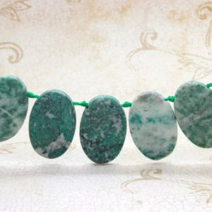 "Shop Jade Bead Shapes! New Mountain Jade Natural Flat Oval Smooth Gemstone Beads Loose Bead 22mm x 36mm – 15.5"" Strand 