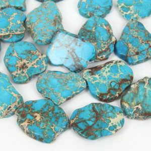 Shop Jasper Chip Beads! 5pcs x Natural Turquoise Blue Sea Sediment Jasper ~20-45mm Smooth Free Form Gemstone Nugget Loose Beads #GX7 | Natural genuine chip Jasper beads for beading and jewelry making.  #jewelry #beads #beadedjewelry #diyjewelry #jewelrymaking #beadstore #beading #affiliate