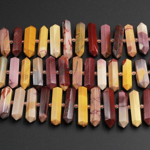 "Shop Jasper Faceted Beads! Natural Australian Mookaite Jasper Beads Faceted Double Terminated Points Large Long Healing Focal Pendant Hexagon Bicone 15.5"" Strand 