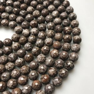 "Shop Jasper Faceted Beads! Brown Snowflake Obsidian Faceted Round Beads 6mm 8mm 10mm 15.5"" Strand 