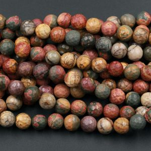 "Shop Jasper Faceted Beads! Matte Faceted Red Creek Jasper Beads 6mm Matte Faceted 8mm 10mm Round Red Green Yellow Brown Natural Multi Color Picasso Jasper 15.5"" Strand 
