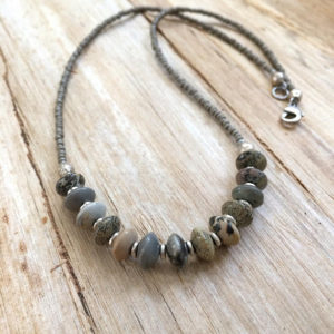 Stone Beaded Necklace, Silver Stone Necklace, Boho Jewelry, Bohemian Jewelry, Beaded Jewelry, Gray Silver Necklace, Jasper Necklace | Natural genuine Jasper necklaces. Buy crystal jewelry, handmade handcrafted artisan jewelry for women.  Unique handmade gift ideas. #jewelry #beadednecklaces #beadedjewelry #gift #shopping #handmadejewelry #fashion #style #product #necklaces #affiliate #ad