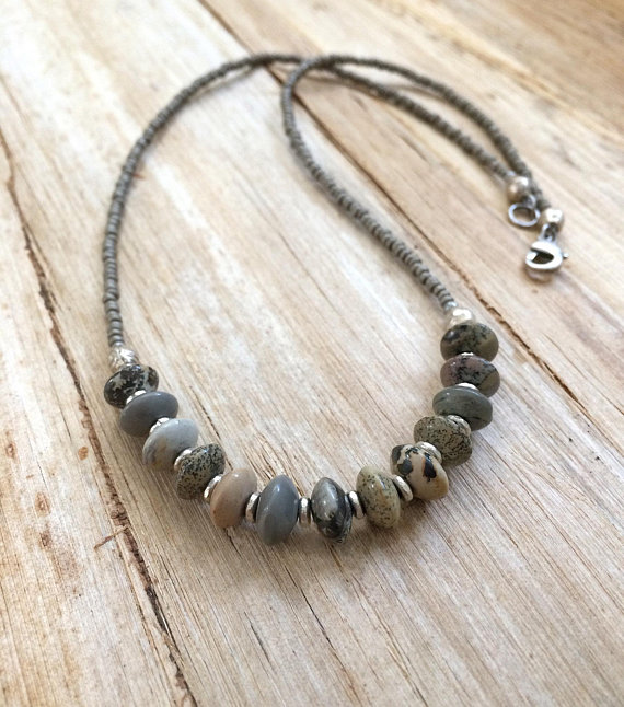 Stone Beaded Necklace, Silver Stone Necklace, Boho Jewelry, Bohemian Jewelry, Beaded Jewelry, Gray Silver Necklace, Jasper Necklace