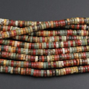 "Shop Jasper Beads! Red Creek Jasper Beads 4mm 6mm 8mm 10mm Heishi Rondelle Disc High Quality Earthy Red Green Yellow Brown Multicolor Picasso Jasper 16"" Strand 