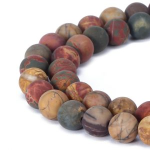 Shop Jasper Beads! Matte Round Well Polish Picasso Jasper Gemstone Loose Beads 15.5 Inch per Strand, Size 6mm/8mm/10mm/12mm.R-M-JAS-0198 | Natural genuine beads Jasper beads for beading and jewelry making.  #jewelry #beads #beadedjewelry #diyjewelry #jewelrymaking #beadstore #beading #affiliate #ad