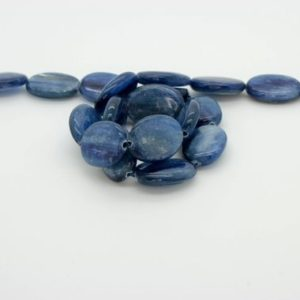 Shop Kyanite Bead Shapes! Nautral Kyanite Flat Oval Smooth Loose Gemstone Loose Bead Beads (8mm x 10mm, 12mm x 18mm) – Full Strand | Natural genuine other-shape Kyanite beads for beading and jewelry making.  #jewelry #beads #beadedjewelry #diyjewelry #jewelrymaking #beadstore #beading #affiliate #ad