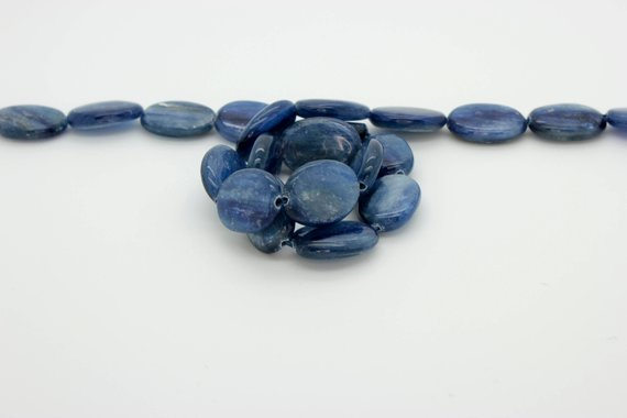 Nautral Kyanite Flat Oval Smooth Loose Gemstone Loose Bead Beads (8mm X 10mm, 12mm X 18mm) - Full Strand