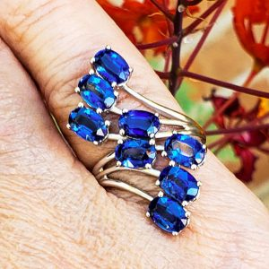 Shop Kyanite Rings! 5.05ct Natural Genuine Himalayan Kyanite Multi-Stone 9k Solid White Gold Wrap Ring | Natural genuine Kyanite rings, simple unique handcrafted gemstone rings. #rings #jewelry #shopping #gift #handmade #fashion #style #affiliate #ad
