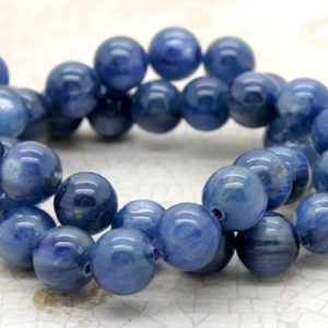 Natural Kyanite Grade AA High Quality Blue Smooth Round Sphere Ball Gemstone Loose Beads – Full Strand | Natural genuine round Kyanite beads for beading and jewelry making.  #jewelry #beads #beadedjewelry #diyjewelry #jewelrymaking #beadstore #beading #affiliate #ad
