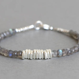 Labradorite Bracelet Beaded Bracelet Stacking Bracelet Gemstone Bracelet Hill Tribe Silver Bracelet | Natural genuine Labradorite bracelets. Buy crystal jewelry, handmade handcrafted artisan jewelry for women.  Unique handmade gift ideas. #jewelry #beadedbracelets #beadedjewelry #gift #shopping #handmadejewelry #fashion #style #product #bracelets #affiliate #ad