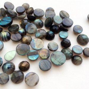 Shop Labradorite Cabochons! 9-15mm Labradorite Round Rose Cut Cabochons, Labradorite Flat Back Checker Cut Cabochons, Loose Blue Labradorite (5Pcs To 10Pcs Options) | Natural genuine stones & crystals in various shapes & sizes. Buy raw cut, tumbled, or polished gemstones for making jewelry or crystal healing energy vibration raising reiki stones. #crystals #gemstones #crystalhealing #crystalsandgemstones #energyhealing #affiliate #ad