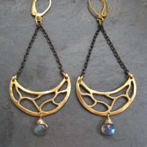 Shop Labradorite Jewelry! Labradorite earrings, chandelier earrings, statement earrings, half moon dangle, mixed metal earrings, black and gold, genuine labradorite | Natural genuine Labradorite jewelry. Buy crystal jewelry, handmade handcrafted artisan jewelry for women.  Unique handmade gift ideas. #jewelry #beadedjewelry #beadedjewelry #gift #shopping #handmadejewelry #fashion #style #product #jewelry #affiliate #ad