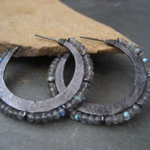 Shop Labradorite Earrings! Crescent Hoop Earrings With Labradorite – Solid Sterling Silver | Natural genuine Labradorite earrings. Buy crystal jewelry, handmade handcrafted artisan jewelry for women.  Unique handmade gift ideas. #jewelry #beadedearrings #beadedjewelry #gift #shopping #handmadejewelry #fashion #style #product #earrings #affiliate #ad