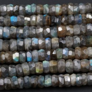 "Shop Labradorite Faceted Beads! AAA Quality Flashy Natural Gray Labradorite Large Faceted 8mm 9mm 10mm Rondelle Beads Tons of Rainbow Fire 16"" Strand Strand 