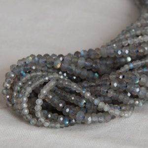 "Shop Labradorite Faceted Beads! Grade A Natural Labradorite (grey) Semi-Precious Gemstone FACETED Rondelle Spacer Beads – 2mm, 3mm, 4mm, 6mm, 8mm, 10mm size 15.5"" strand 