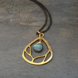 Branch necklace with faceted labradorite – vermeil and sterling silver | Natural genuine Labradorite necklaces. Buy crystal jewelry, handmade handcrafted artisan jewelry for women.  Unique handmade gift ideas. #jewelry #beadednecklaces #beadedjewelry #gift #shopping #handmadejewelry #fashion #style #product #necklaces #affiliate #ad