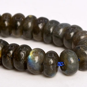 "Shop Labradorite Rondelle Beads! 7x4MM Dark Gray Labradorite Beads AA Genuine Natural Gemstone Half Strand Rondelle Loose Beads 7.5"" BULK LOT 1,3,5,10,50 (105040h-1439) 