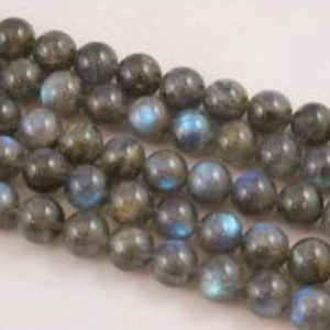 "Natural Labradorite Smooth Round Beads 4mm 6mm 8mm 9mm 10mm 12mm 15.5"" Strand 
