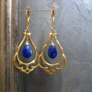 Lapis Chandelier Earrings, Blue Ornate Dangle, Gold Statement Earrings, Genuine Gemstone, Fancy Earrings, Medium Size | Natural genuine Lapis Lazuli earrings. Buy crystal jewelry, handmade handcrafted artisan jewelry for women.  Unique handmade gift ideas. #jewelry #beadedearrings #beadedjewelry #gift #shopping #handmadejewelry #fashion #style #product #earrings #affiliate #ad