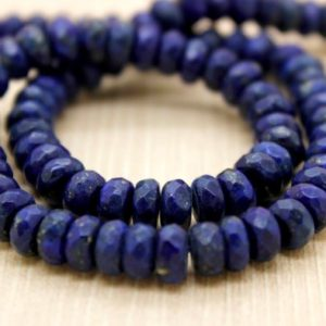 Shop Lapis Lazuli Faceted Beads! Natural Lapis Lazuli Gemstone Faceted Rondelle Loose Beads (2mm x 4mm, 4mm x 6mm, 5mm x 8mm, 6mm x 10mm) | Natural genuine faceted Lapis Lazuli beads for beading and jewelry making.  #jewelry #beads #beadedjewelry #diyjewelry #jewelrymaking #beadstore #beading #affiliate #ad
