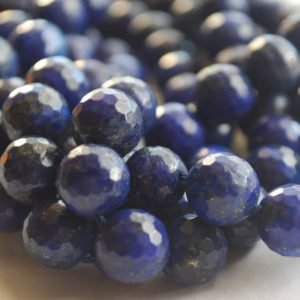 "Shop Lapis Lazuli Faceted Beads! High Quality Grade A Natural Lapis Lazuli Semi-precious Gemstone FACETED Round Beads – 6mm, 8mm, 10mm sizes – Approx 15"" strand 