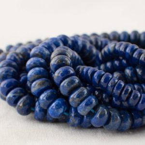 "High Quality Grade A Natural Lapis Lazuli (blue) Semi-precious Gemstone Rondelle / Spacer Beads – 4mm, 6mm, 8mm sizes – 15.5"" strand 