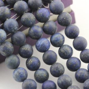 "Shop Lapis Lazuli Round Beads! 2.0mm Hole Lapis Lazuli Matte Round Beads 6mm 8mm 10mm 15.5"" Strand 
