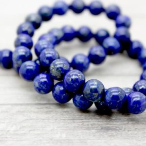 Natural Lapis Lazuli Smooth Loose Round Beads Gemstone (3mm 4mm 5mm 6mm 8mm 10mm 12mm 14mm 16mm) | Natural genuine round Gemstone beads for beading and jewelry making.  #jewelry #beads #beadedjewelry #diyjewelry #jewelrymaking #beadstore #beading #affiliate #ad