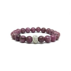 Shop Lepidolite Bracelets! Pink Lepidolite Bracelet With Pave Focal | Natural genuine gemstone jewelry in modern, chic, boho, elegant styles. Buy crystal handmade handcrafted artisan art jewelry & accessories. #jewelry #beaded #beadedjewelry #product #gifts #shopping #style #fashion #product