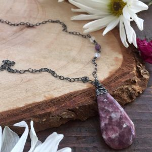 Lepidolite Necklace – Purple Necklace – Raw Stone Jewelry – Calming Jewelry – Healing Crystal Necklace – Amethyst Necklace – Rustic Necklace | Natural genuine Lepidolite pendants. Buy crystal jewelry, handmade handcrafted artisan jewelry for women.  Unique handmade gift ideas. #jewelry #beadedpendants #beadedjewelry #gift #shopping #handmadejewelry #fashion #style #product #pendants #affiliate #ad