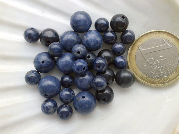 Set Of Saphire Beads Aa Quality, Round Smooth Bead In Real Semi Precious Natural Stone, 6mm 8mm 9mm 14mm